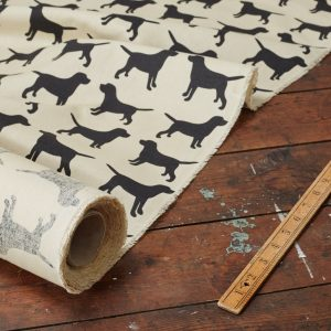The Labrador Company-Black Printed Labrador Cotton Drill Fabric