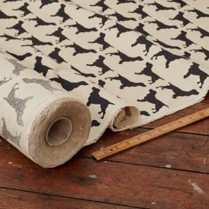 The Labrador Company-Black Printed Spaniel Cotton Drill Fabric