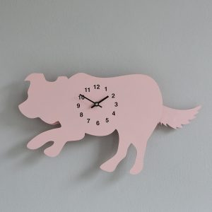 The Labrador Co.-Pink Border Collie Clock with wagging tail - last one! 1