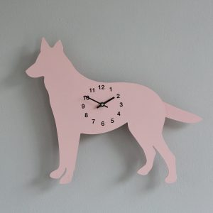 The Labrador Co.-Pink German Shepherd Clock with wagging tail - last one! 1