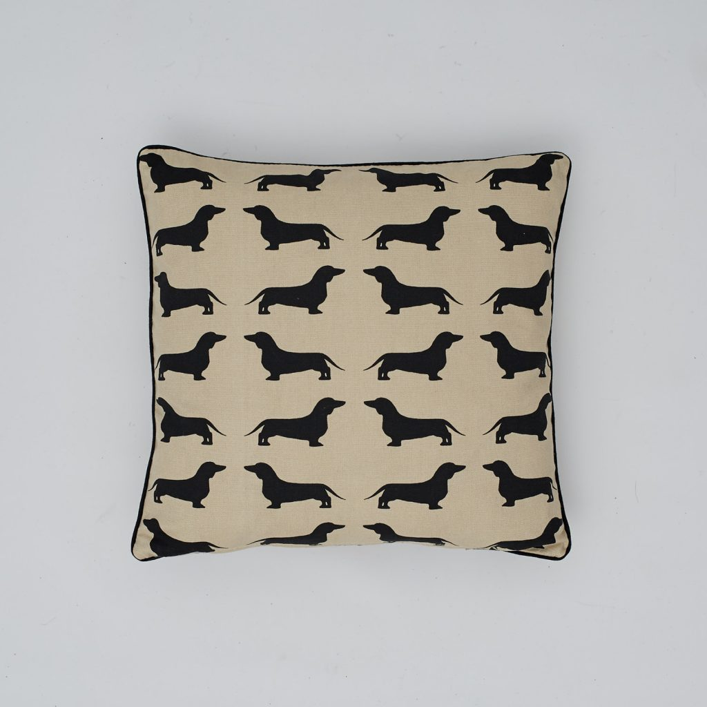 The Labrador Company-Black Dachshund Cotton Cushion 1