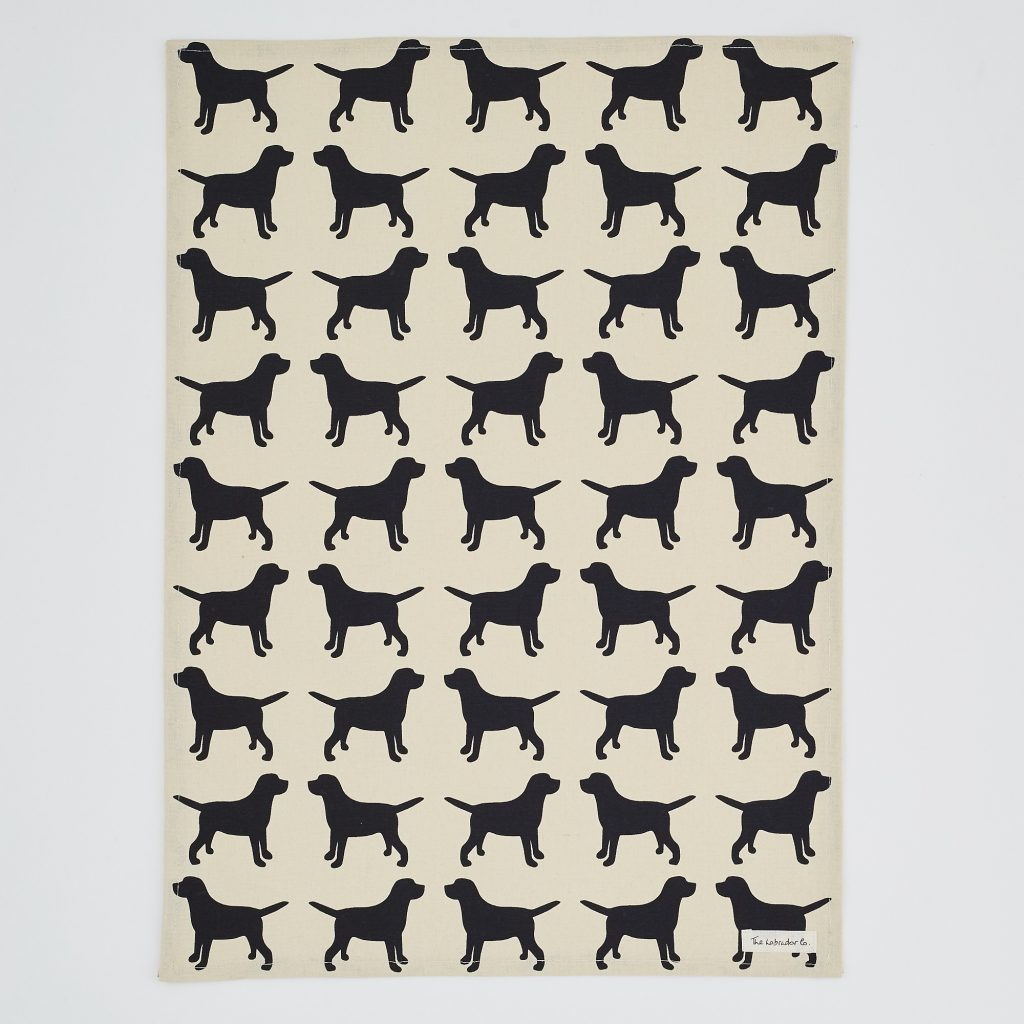 The Labrador Company-Black Labrador Print Tea Towel 3