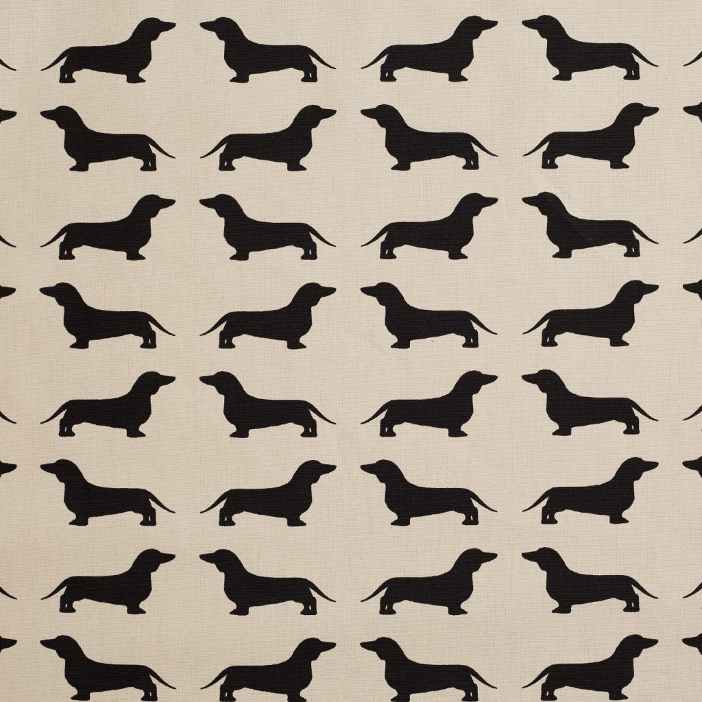 The Labrador Company-Black Printed Dachshund Cotton Drill Fabric 1
