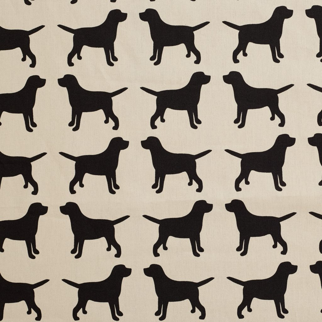 The Labrador Company-Black Printed Labrador Cotton Drill Fabric 1