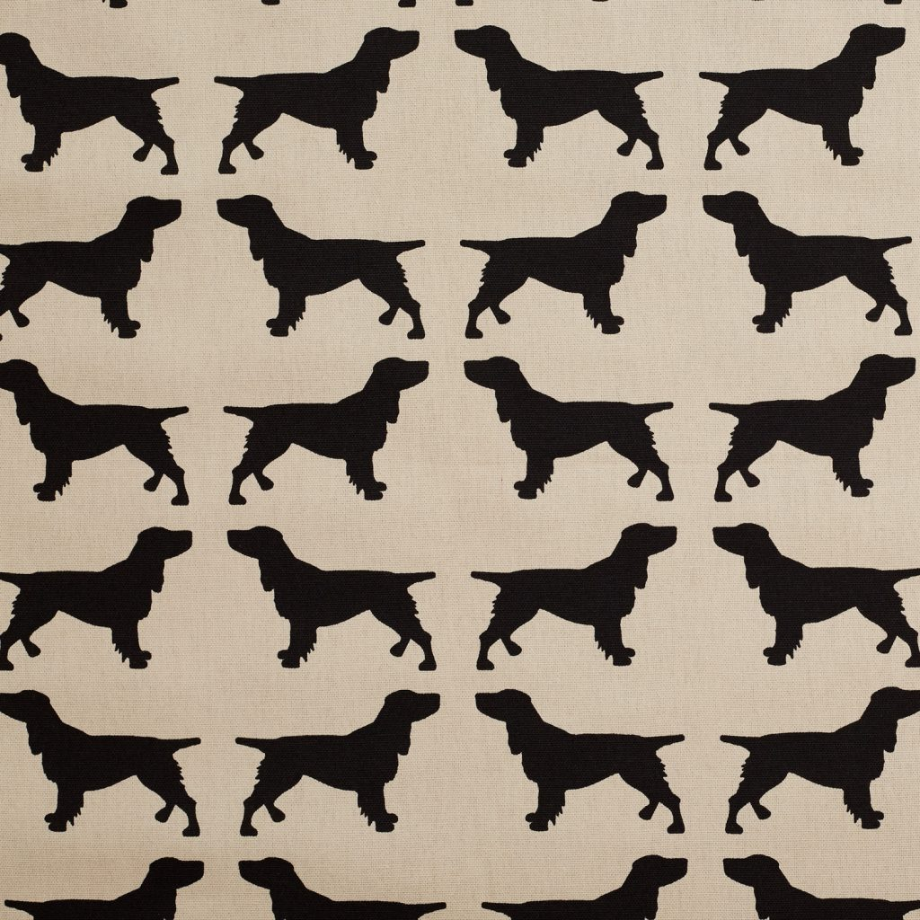The Labrador Company-Black Printed Spaniel Cotton Drill Fabric 1