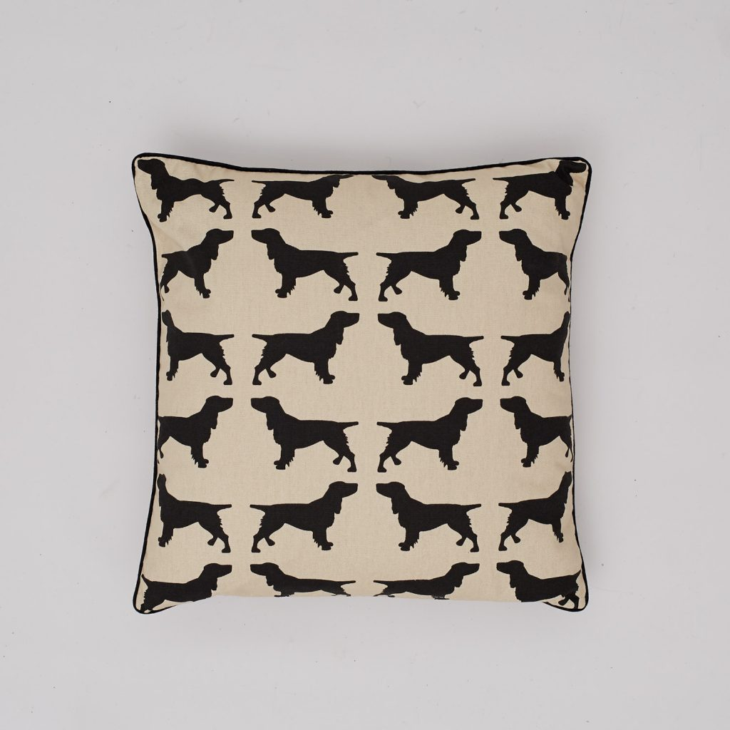 The Labrador Company-Black Spaniel Cotton Cushion 1
