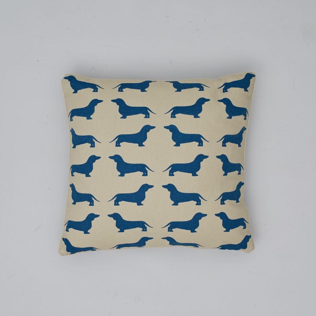 The Labrador Company-Blue Dachshund Cotton Cushion 1