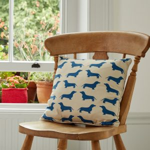 The Labrador Company-Blue Dachshund Cotton Cushion