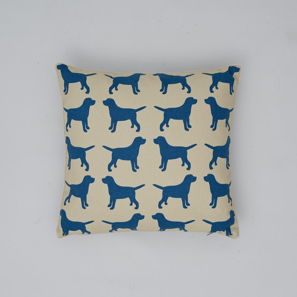 The Labrador Company-Blue Labrador Cotton Cushion 1