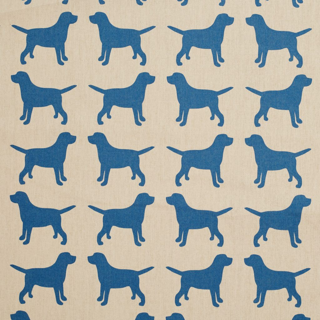 The Labrador Company-Blue Printed Labrador Cotton Drill Fabric 1