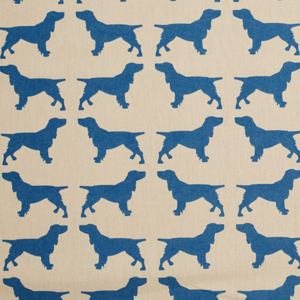The Labrador Company-Blue Printed Spaniel Cotton Drill Fabric 1