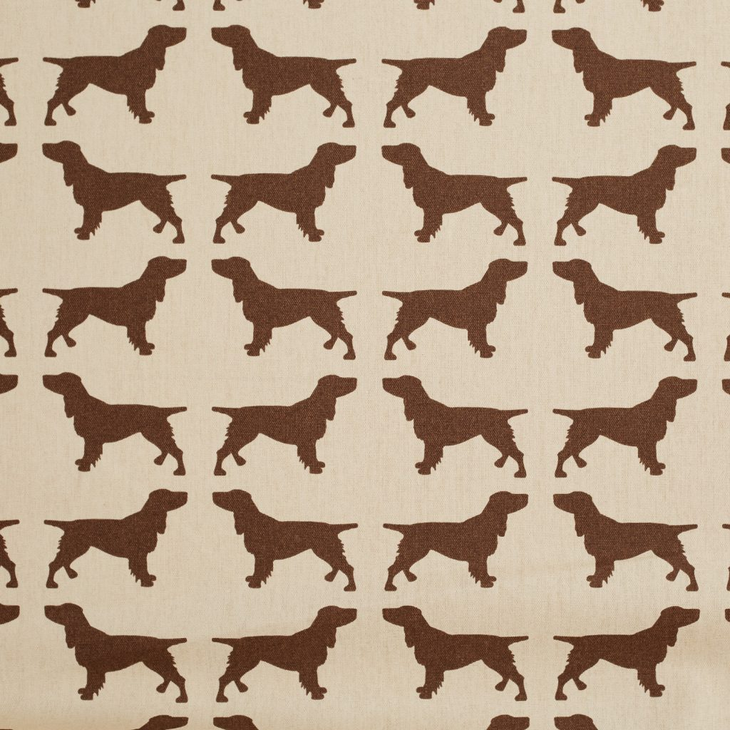 The Labrador Company-Brown Printed Spaniel Cotton Drill Fabric 1