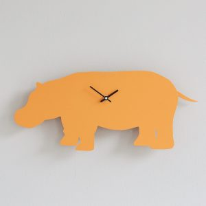 The Labrador Company-Orange Hippo Clock with Wagging Tail