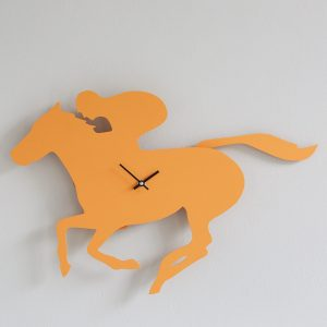 The Labrador Company-Racehorse Clock with wagging tail - orange - last one!