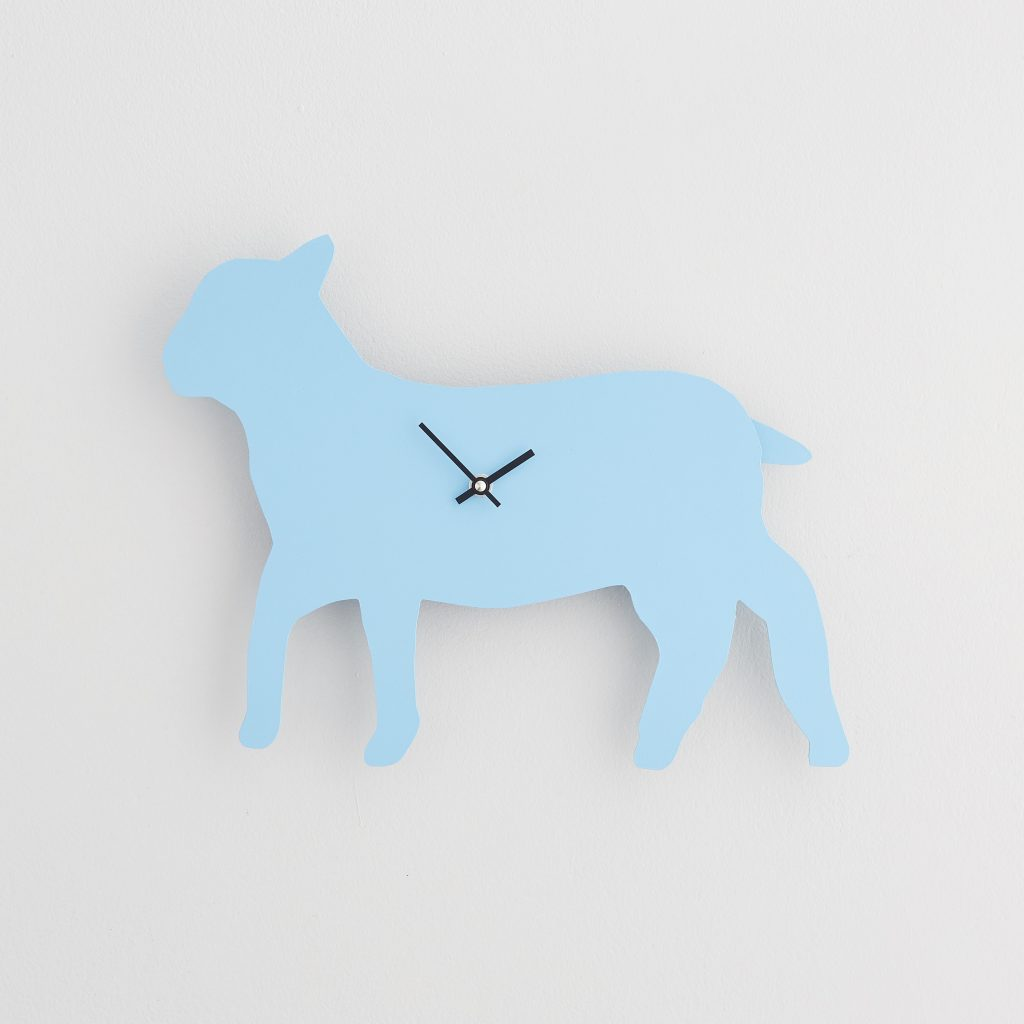 The Labrador Co.-Blue Lamb Clock with wagging tail - last one!