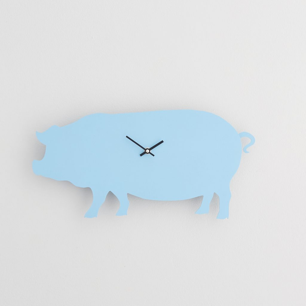 The Labrador Co.-Blue Pig  Clock with wagging tail - last one! (Copy)