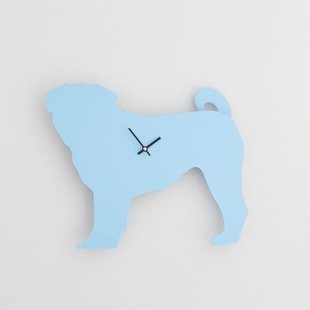 The Labrador Co.-Blue Pug Clock with wagging tail - last one!