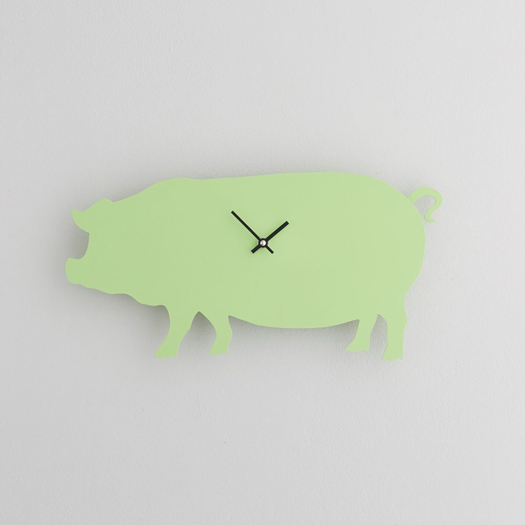 The Labrador Co.-Green Pig Clock with wagging tail - last one!