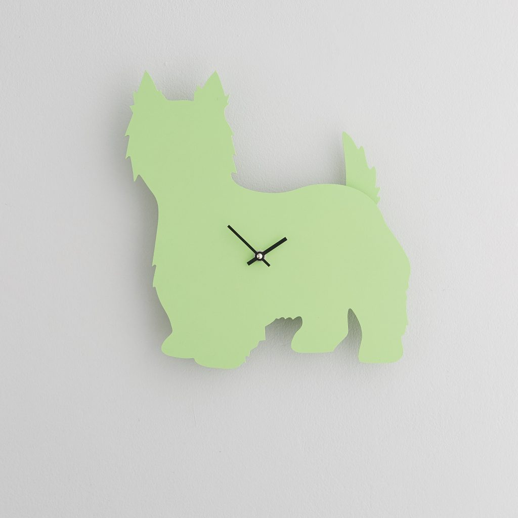 The Labrador Co.-Green Westie Clock with wagging tail - last one!