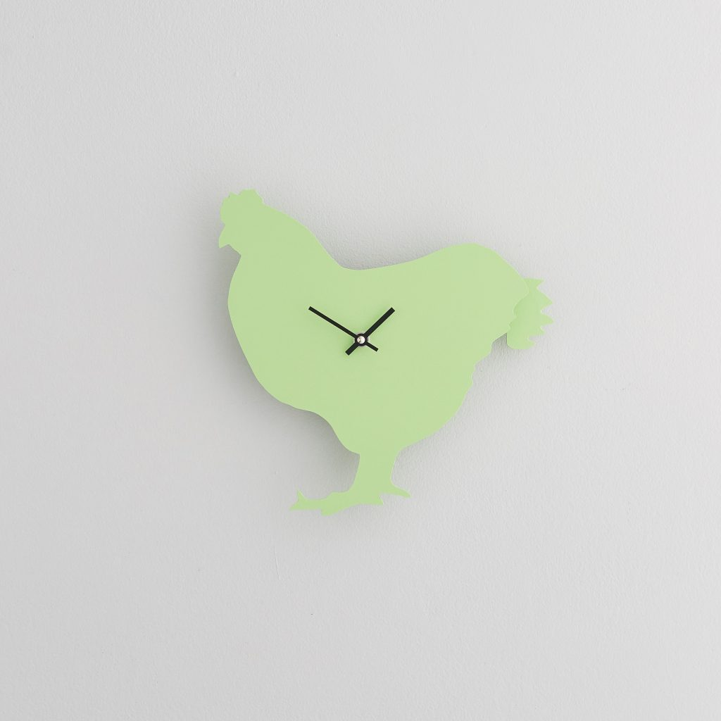 The Labrador Co.-Green Chicken  Clock with wagging tail - last one!