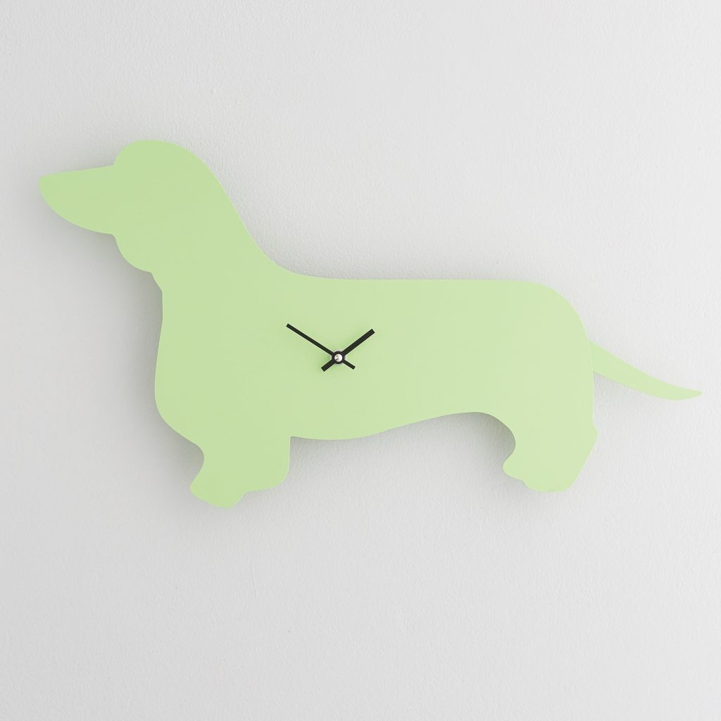 The Labrador Co.-Green Dachshund Clock with wagging tail - last one!