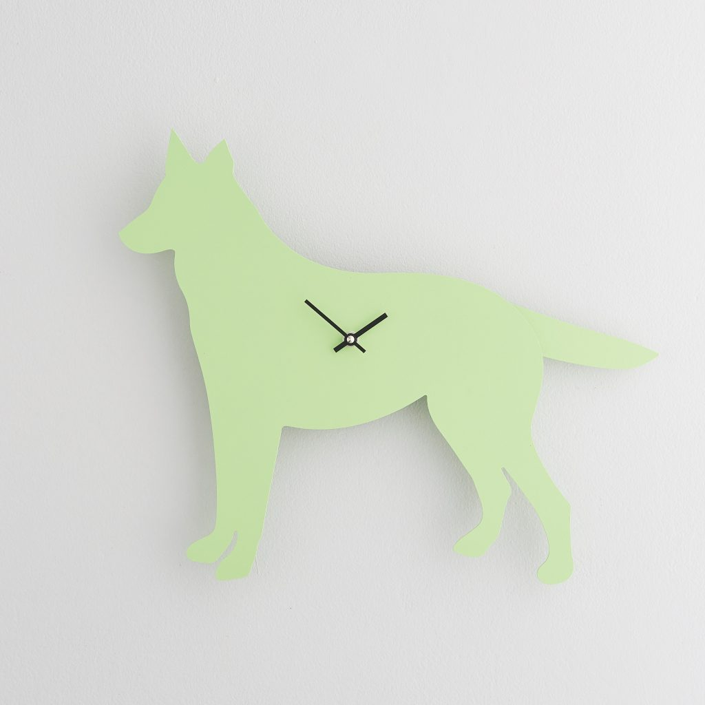 The Labrador Co.-Green German Shepherd Clock with wagging tail - last one!