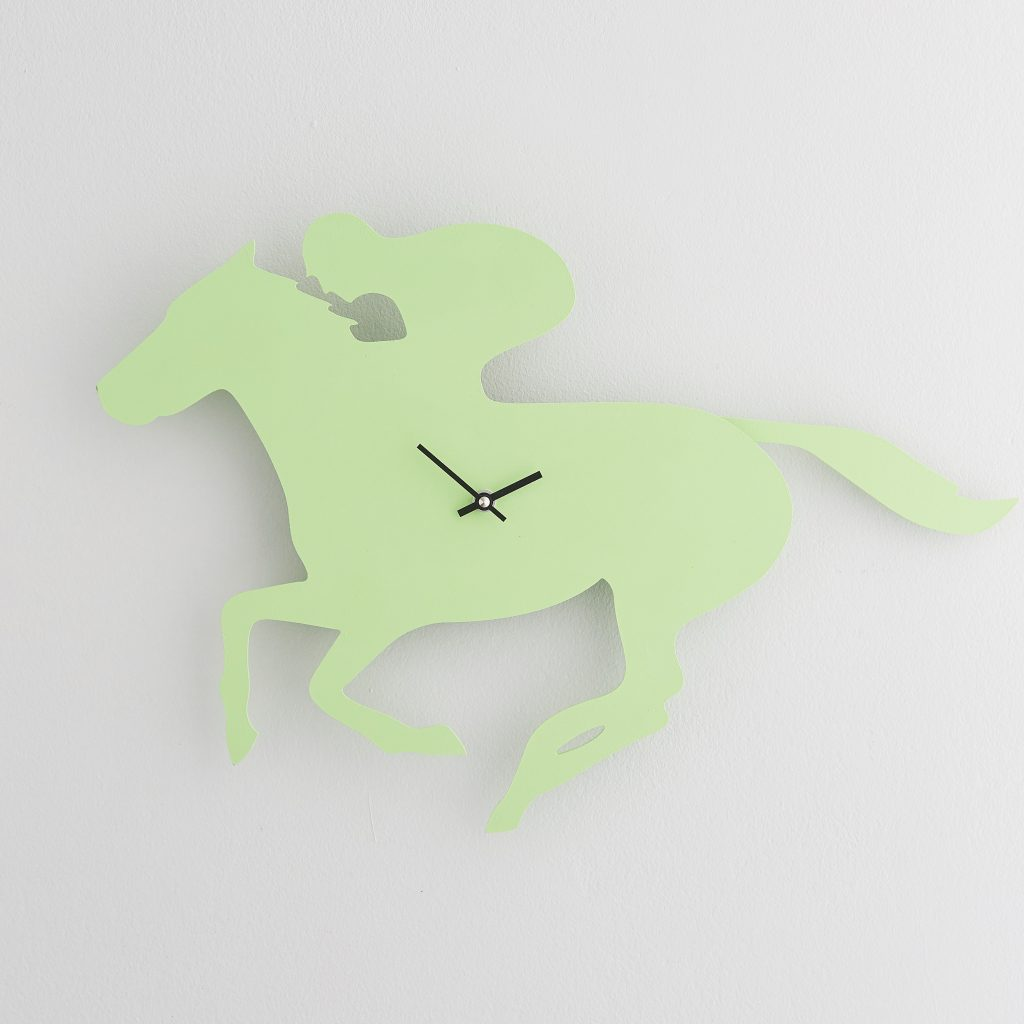 The Labrador Co.-Green Race horse Clock with wagging tail - last one!