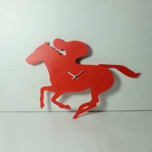 The Labrador Co.-Red racehorse clock with wagging tail - last one!