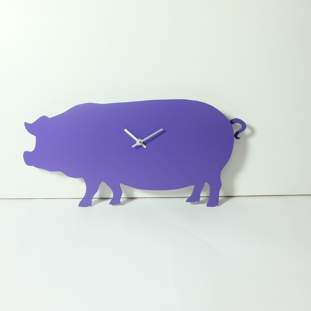 The Labrador Co.-Purple Pig Clock with wagging tail - last one!