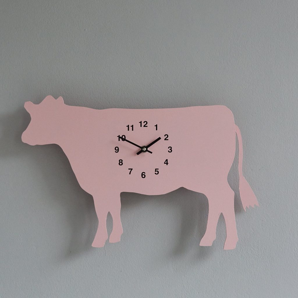 The Labrador Co.-Pink Cow Clock with wagging tail - last one! 1