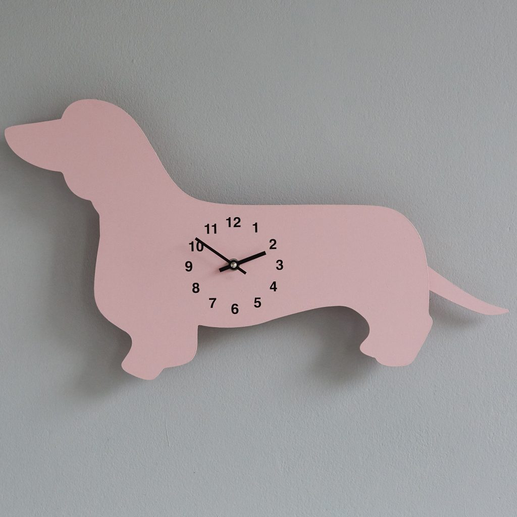 The Labrador Co.-Pink Dachshund Clock with wagging tail - last one! 1