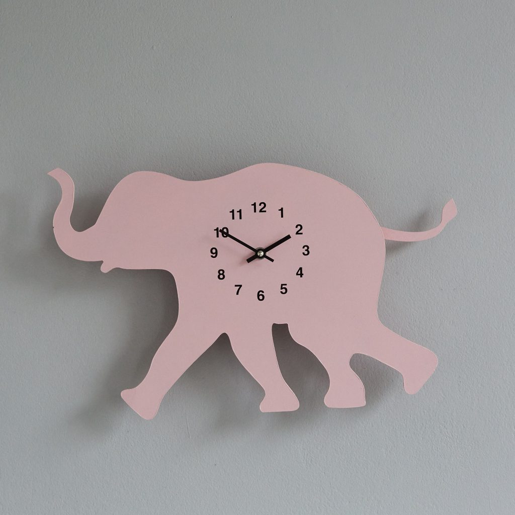 The Labrador Co.-Pink Elephant Clock with wagging tail - last one!