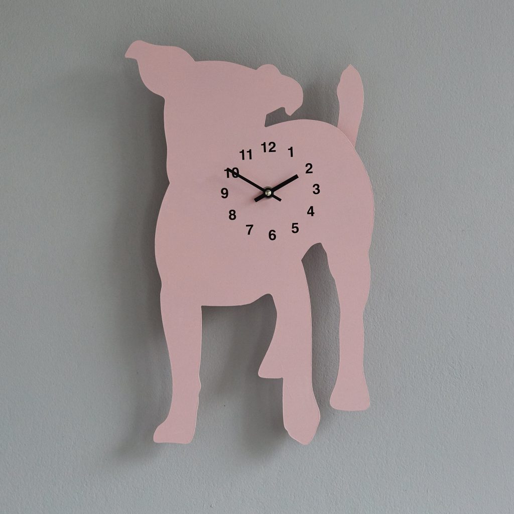 The Labrador Co.-Pink Jack Russell Clock with wagging tail - last one! 1