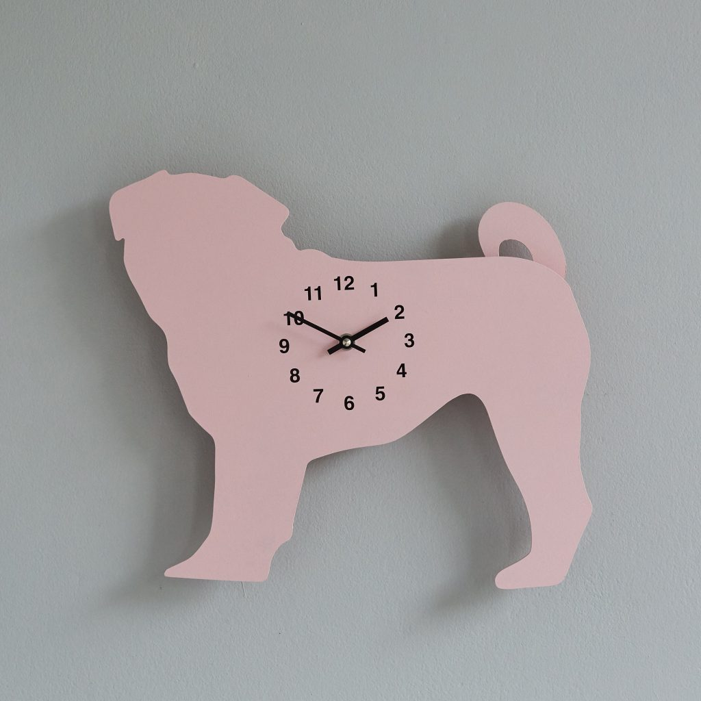The Labrador Co.-Pink Pug  Clock with wagging tail - last one! 2